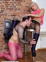 Anite gets fucked through pantyhose by a guy wearing pink nylons